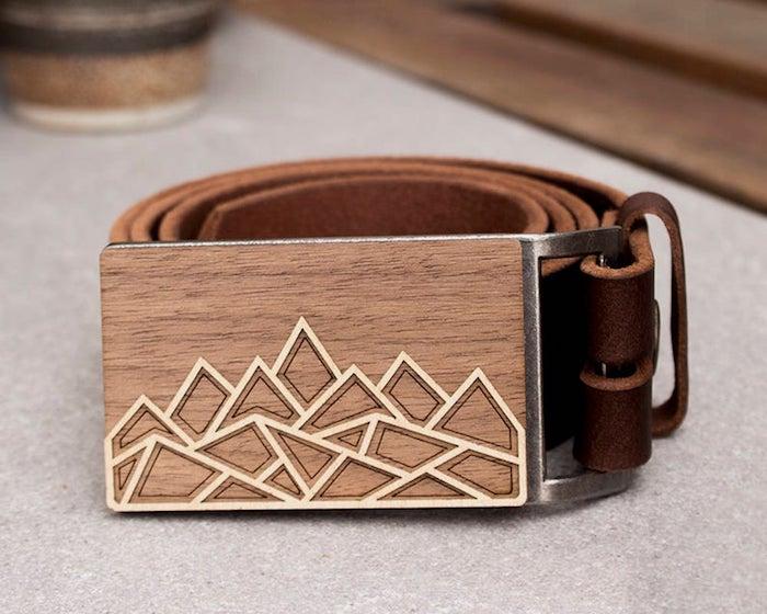 Ceinture avec catarame en bois cool, originale idée cadeau fait main, cadeau pour voyageur