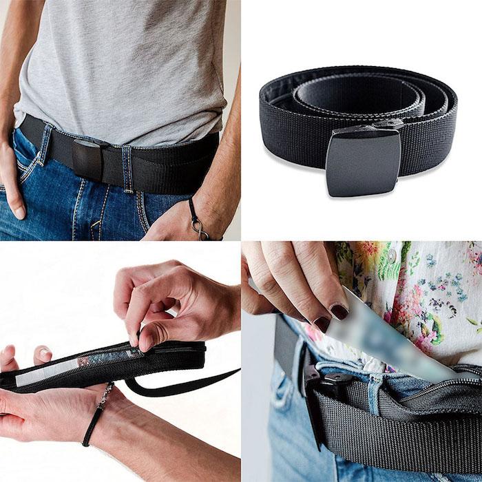 Idée cadeau meilleure amie, cadeau pour voyageur ceinture qui cache argent, ceinture porte monnaie