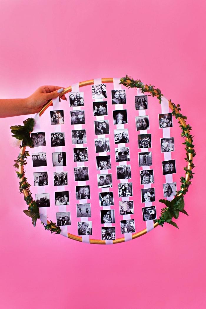 cerceau hula hoop détourné en pele mele pour afficher ses mini-photos, pêle-mêle diy avec photos suspendues
