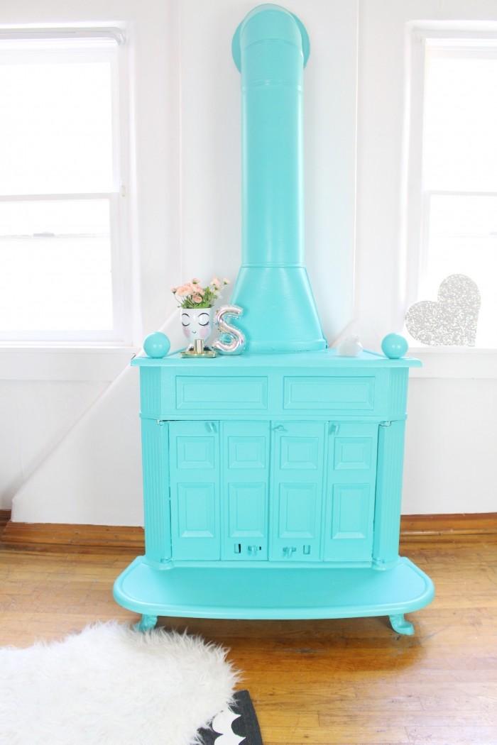 Aigue marine cheminée décorative, cool idée peinture renovation meuble, belle décoration maison meubles vintage