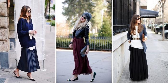 idée tenue avec jupe taille haute, look casual chic en jupe bordeaux longue avec veste simili cuir court et chaussures plates