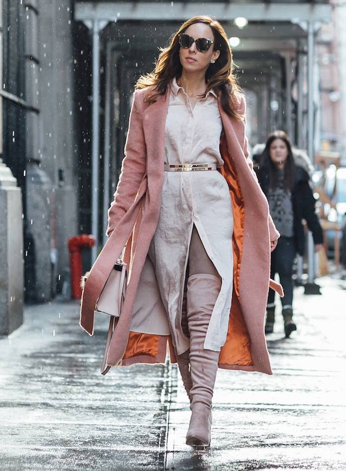 Robe chemisier longue avec ceinture pour souligner la taille, robe pour noel, comment adopter la robe longue d'hiver, tenue avec cuissardes à talon