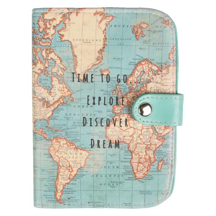 Porte monnaie et papiers avec le plan du monde en bleu et brune, les meilleures idées cadeau voyage, idee cadeau original