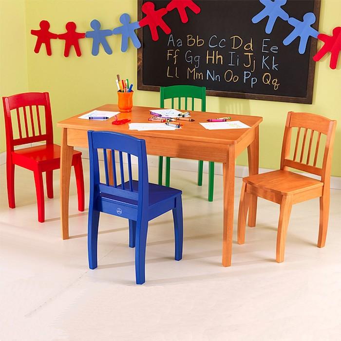 Chambre de jeux, chaise et table colorés, relooking de meubles, donner une nouvelle vie aux meubles usagés
