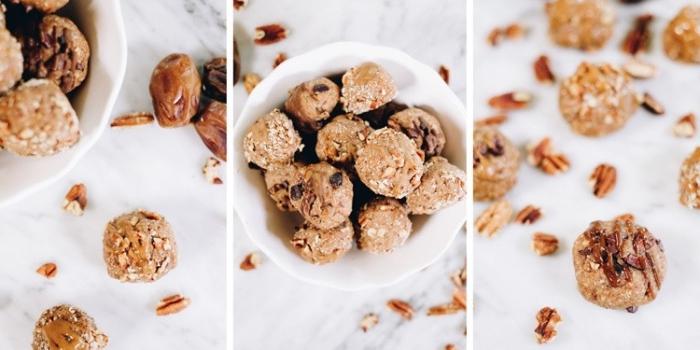 recette energy ball maison aux noix de pecan, noix de coco rapé, beurre d amande et dattes, dessert sans sucre