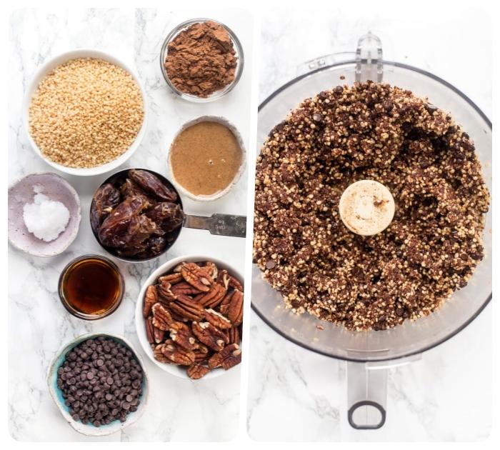 dessert sans cuisson, boules d energie aux noix de pecan, beurre d amande, dattes, pepites de chocolat, vanille, beurre de coco, quinoa soufflé et cacao