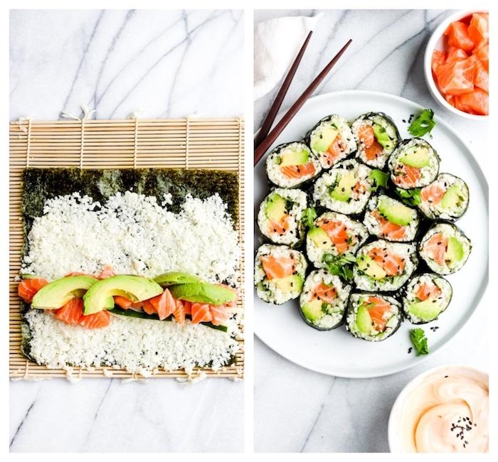 sushi maison au riz de chou fleur avec saumon fumé et avocat, on mange quoi ce soir, plat équilibré du soir