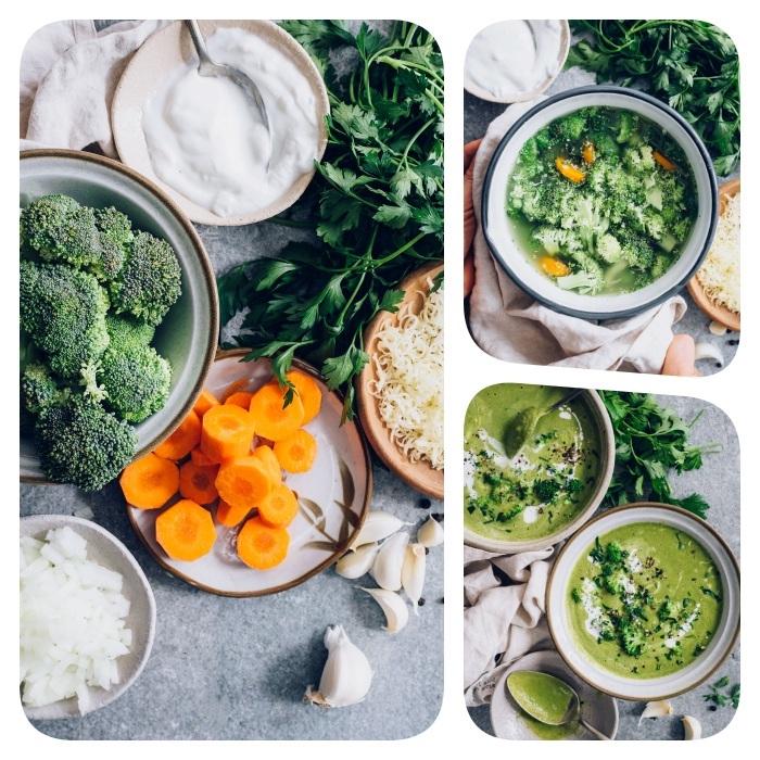recette facile et rapide pour faire un velouté de brocolis, oignons et carottes à l ail, topping persil et yaourt grec nature