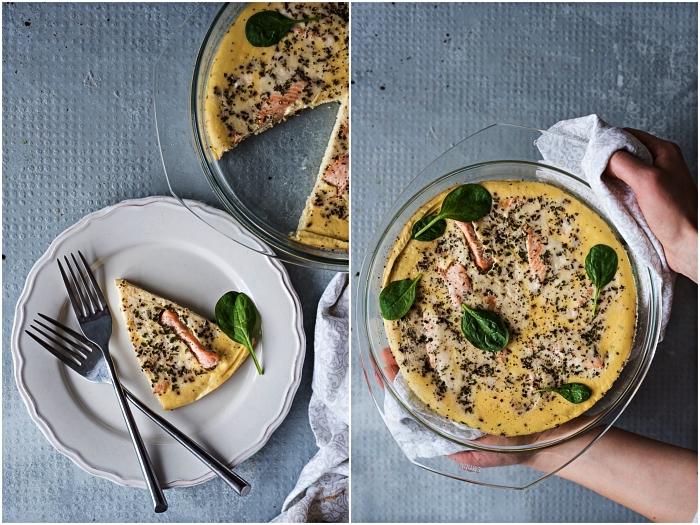 tarte sans pate au saumon et aux épinards, idée de repas léger pour le soir, frittata au saumon et épinard