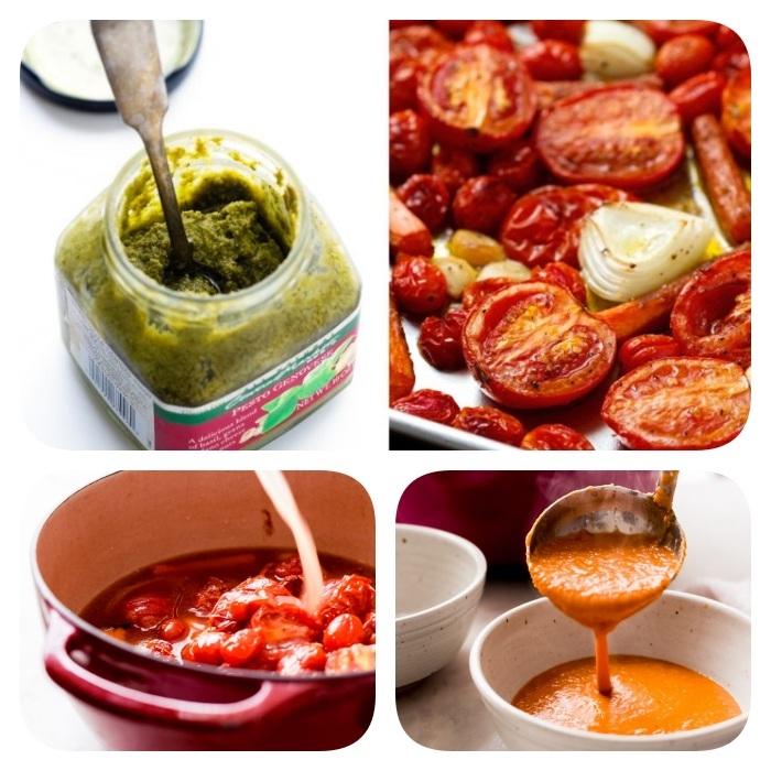 recette velouté aux tomates cerise et oignons avec du pesto, soupe tomate maison, repas du soir équilibré