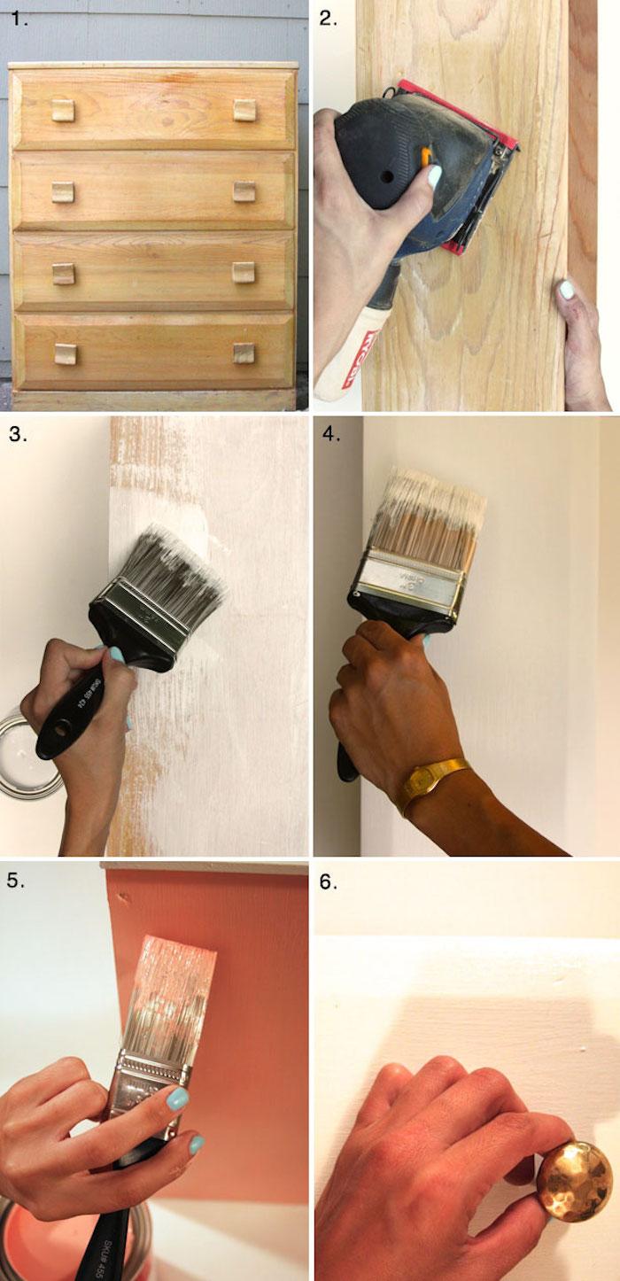Laquer un meuble et le colorer, comment repeindre un meuble sans le poncer, meuble peint