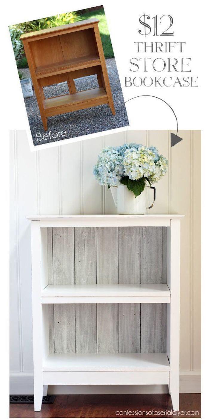 Bois meuble de rangement, idée peinture blanche meuble cuisine, relooker un meuble en bois, coloration meubles