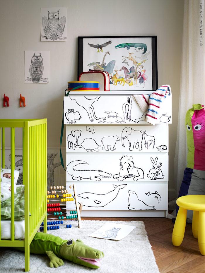 Chambre d'enfant placard rangement blanc, relooking meuble, décoration salle de séjour coloré avec meuble relooké