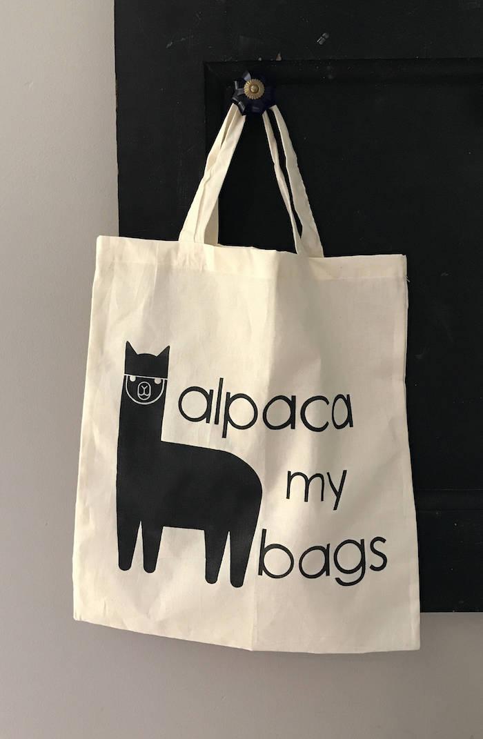 Tote bag idée cadeau utile, chouette idée cadeau anniversaire alpaca drôle, sac à main diy print original