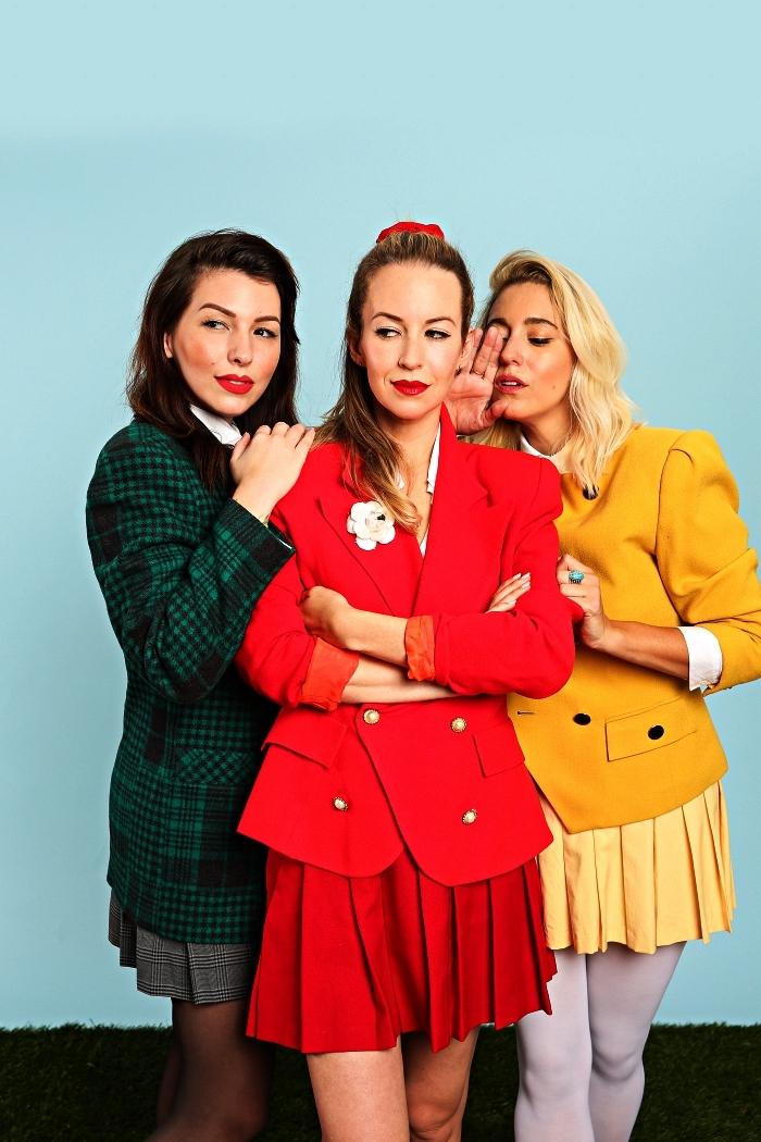 déguisement de groupe inspiré du film heathers, tailleure rétro pour s'habiller en femme des années 80