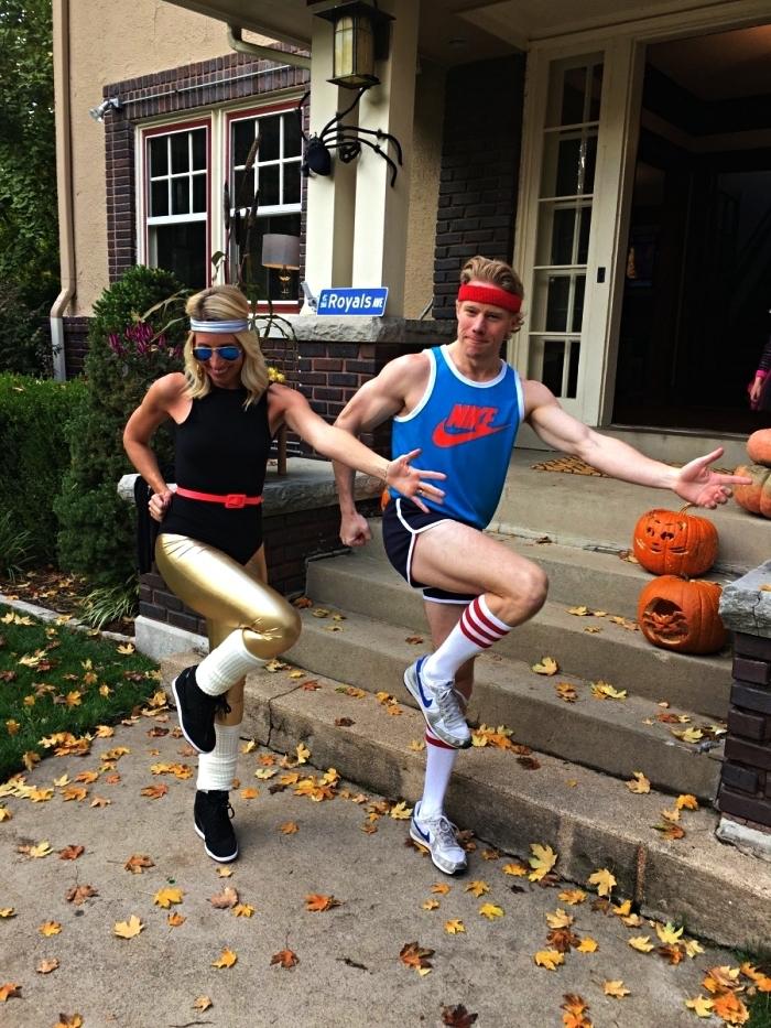 idée de déguisement de couple sportif, déguisement en tenue année 80 pour faire du sport, déguisement d'aérobic