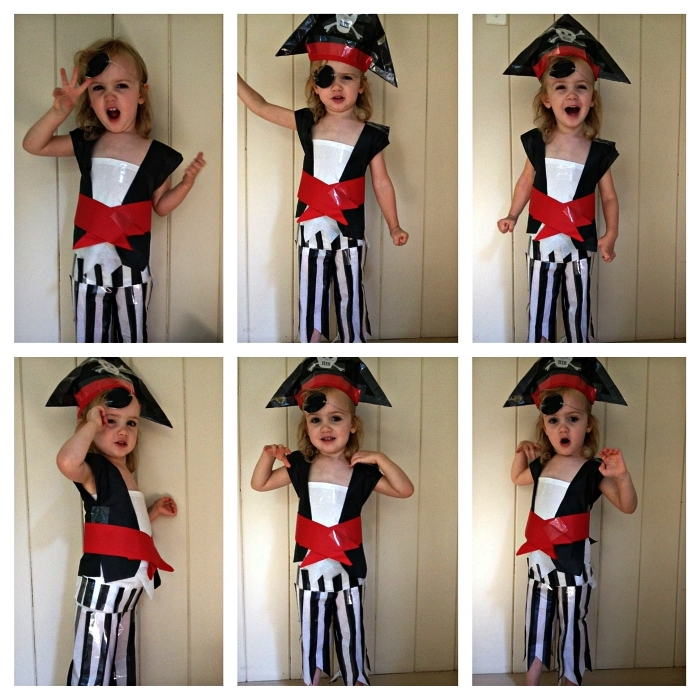 idee deguisement halloween enfant pirate, costume de pirate pour enfant à faire soi-même, chapeau et costume de pirate réalisés avec du scotch électrique