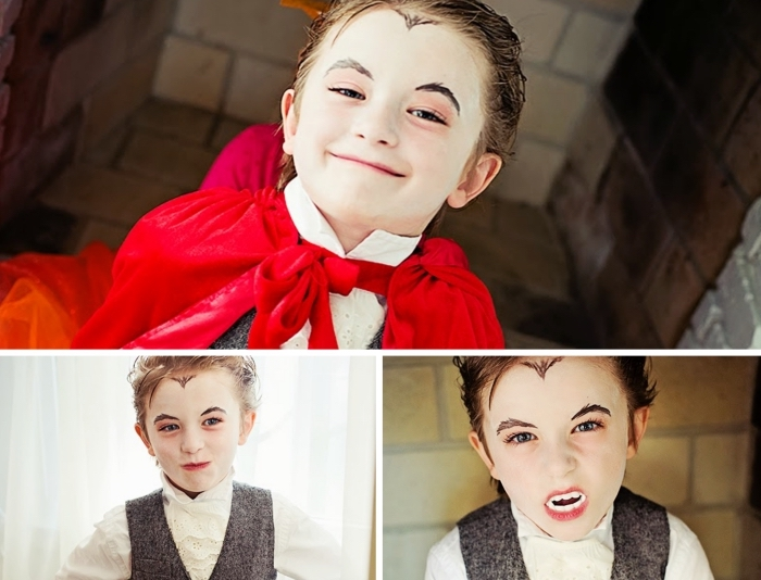 idée déguisement et maquillage dracula pour petit garçon, exemple de maquillage simple halloween de dernière minute