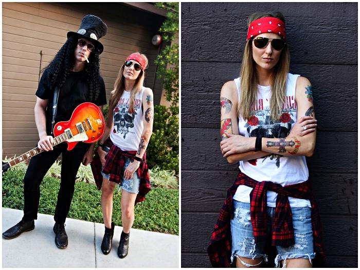 deguisement rock pour femme et homme, déguisement axel rose et slash pour couple