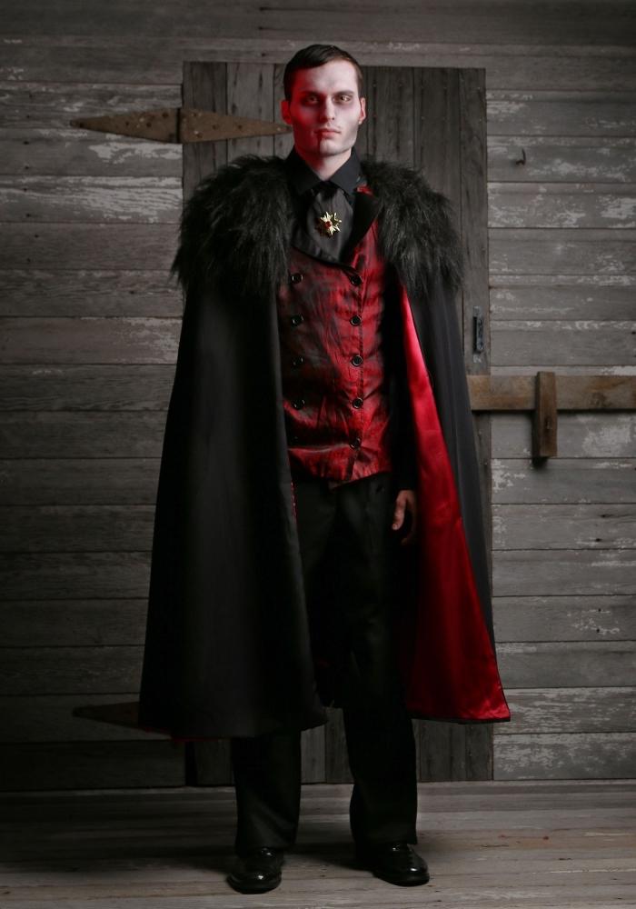 idée maquillage dracula facile à réaliser, déguisement en vampire pour Halloween homme, tenue vampire en costume 3 pièces