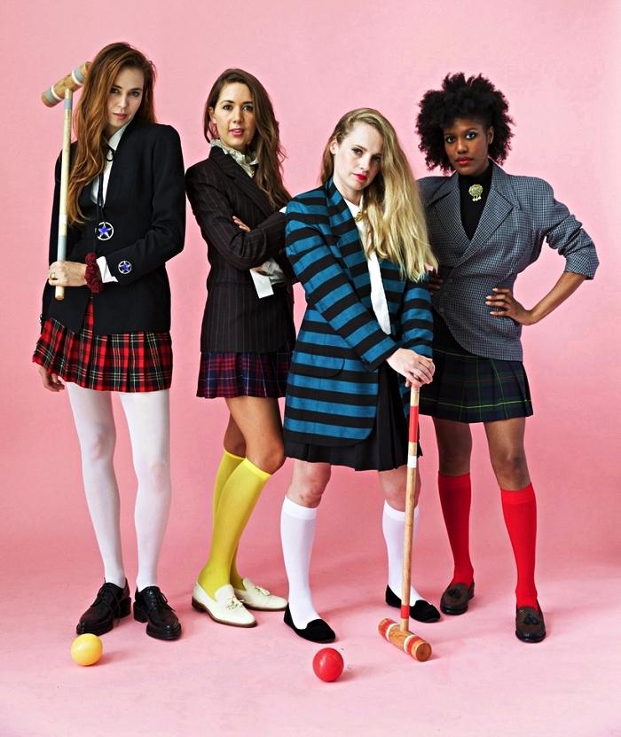 idée déguisement de groupe pour amies inspiré du film heathers des années 80, tenue femme des années 80