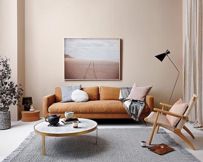 idee pour amenager un salon couleur grège, couleur peinture salon lumineux, canapé marron, table basse laiton et marbre, salon cocooning