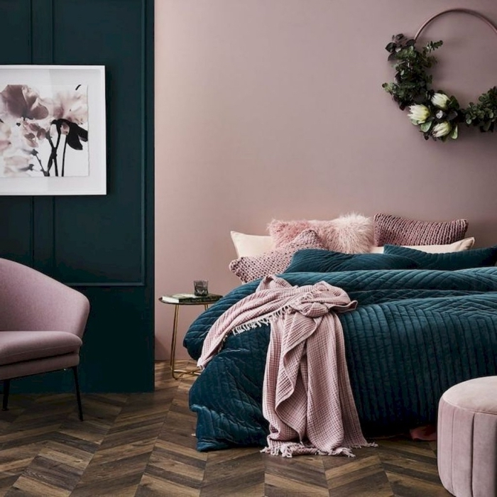 quelle peinture pour une chambre à coucher moderne, idée peinture de couleur vieux rose dans une chambre en rose et vert