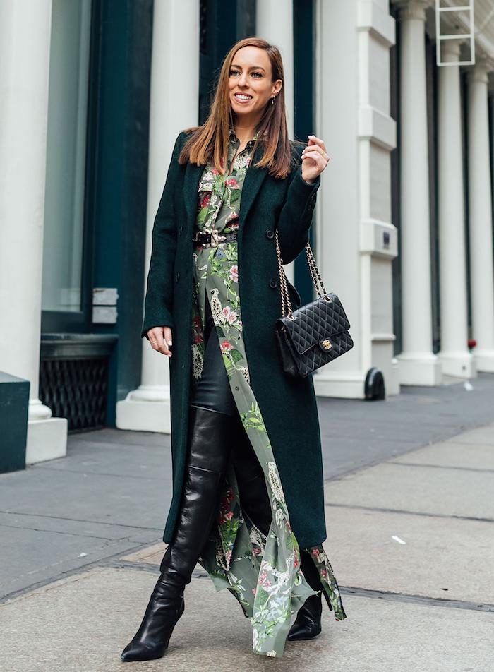 robe chemise déboutonné avec manteau longue noire en top, style moderne pour la saison hiver 2020