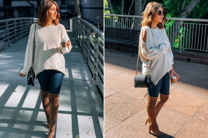 vetement de grossesse, comment bien s'habiller en automne femme enceinte, look femme grossesse en jeans et pull-over