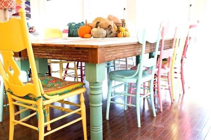 Chaise salle à manger customisée, coloré chaise meuble peint, relooker un meuble en bois, idée meuble relooké