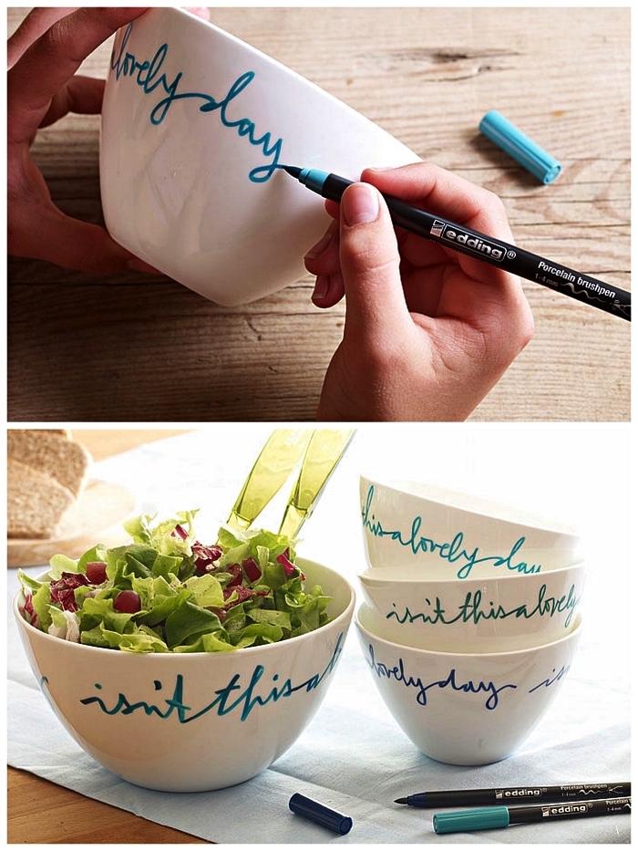 écrire sur des bols avec du feutre pour porcelaine, idées pour personnaliser sa vaisselle blanche