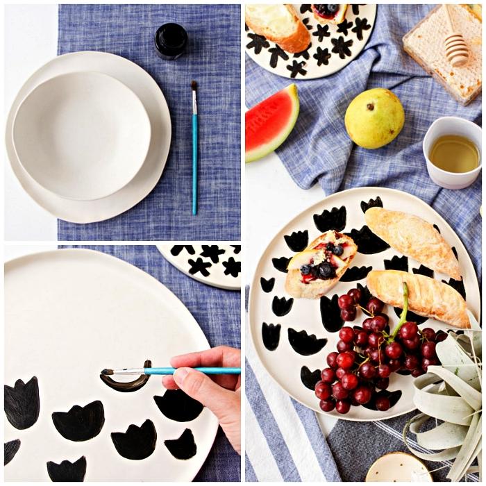 peindre des tulipes noires sur des assiettes blanches, activité créative pour réaliser une jolie vaisselle personnalisée
