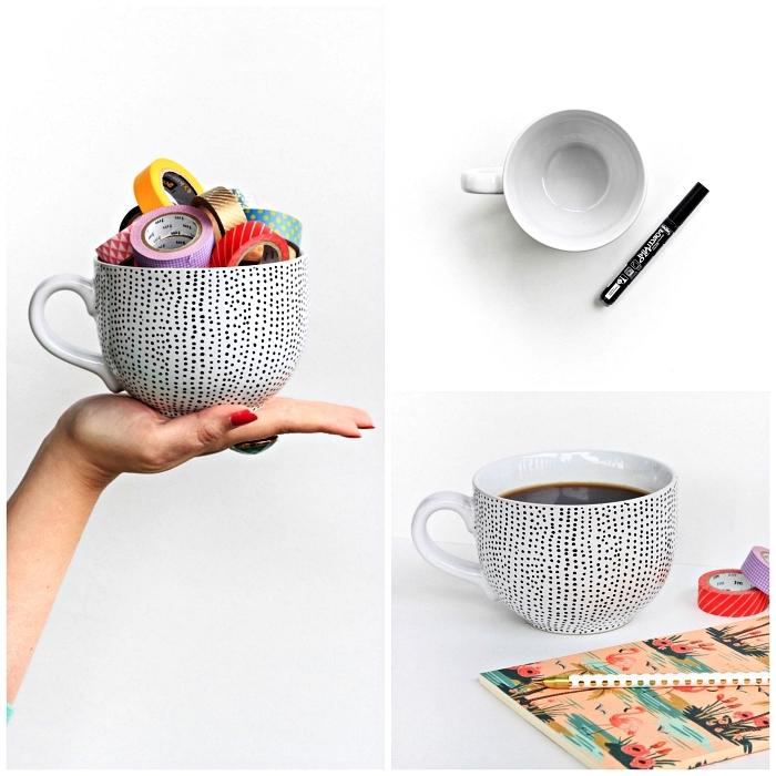 personnaliser un mug avec un feutre pour porcelaine, mug personnalisé à design pois noirs au feutre à porcelaine