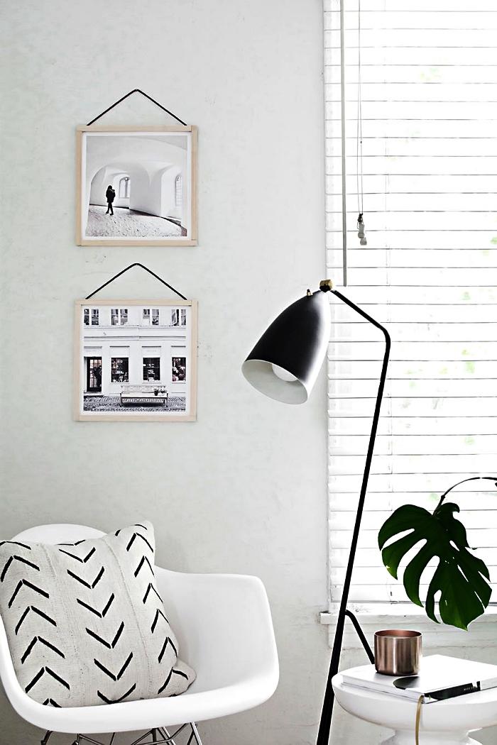 cadre mural à suspendre au design vintage scandinave façon encadrement d'affiche, cadre photo diy en bois