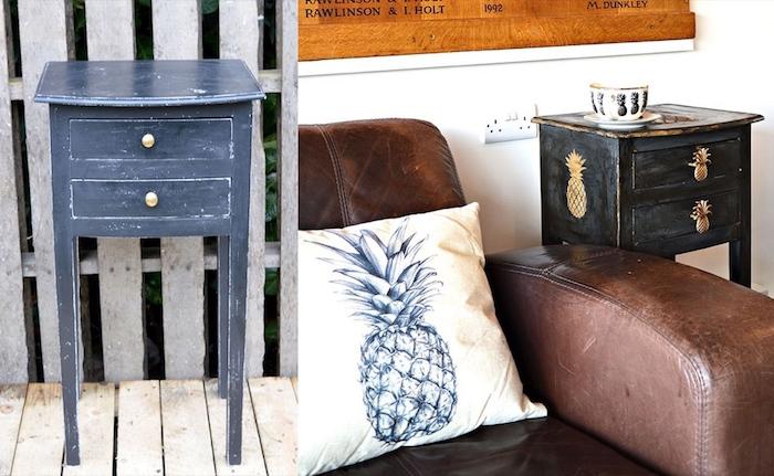 Petite tale bleu en noir avec pochoir ananas, peindre un meuble en bois, peindre un meuble vernis