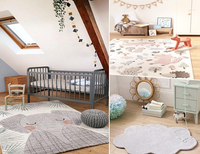 idée comment aménager une chambre d'enfant, modèle de tapis enfant à design animal, déco sous combles