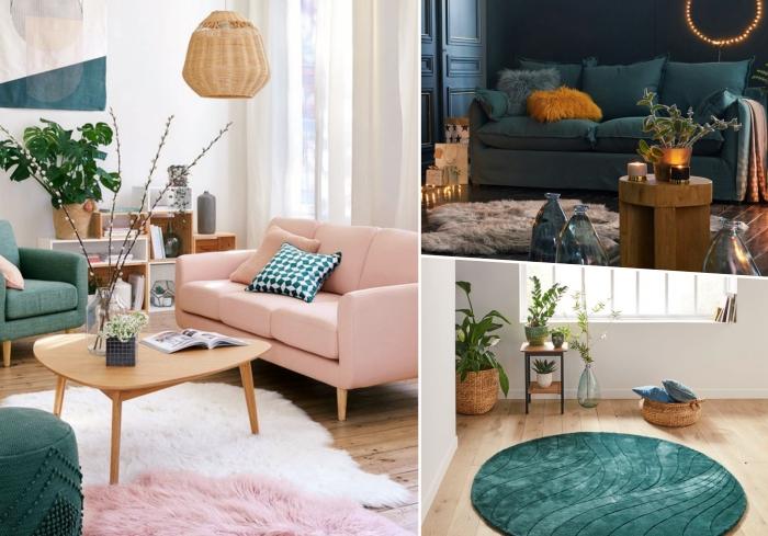 comment aménager un salon moderne et accueillant avec accents colorés, modèle de tapis rond de couleur vert foncé