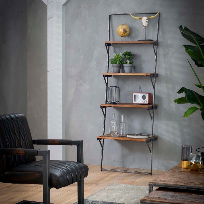 comment aménager un salon contemporain de style industriel, meubles en bois recyclés tendance, modèle table salon bois et métal