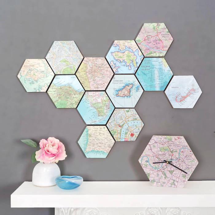 Carte de monde cadeau a faire soi meme, idée cadeau personnalisé décoration murale