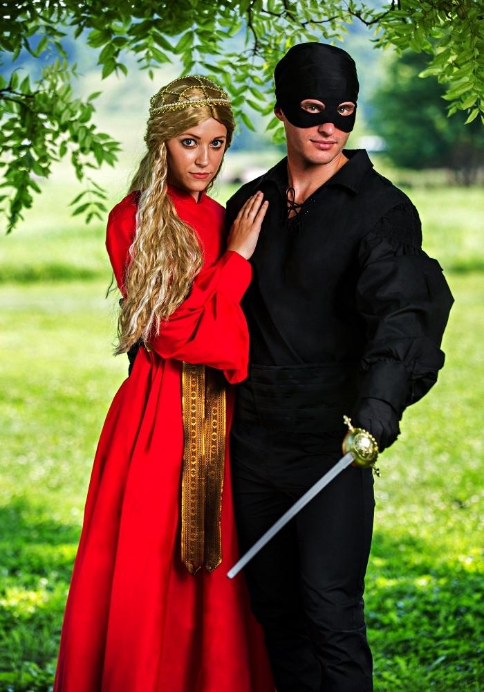 déguisement de couple la princesse bouton d'or et le brigand, deguisement femme inspiré du film des années 80 la princesse bouton d'or