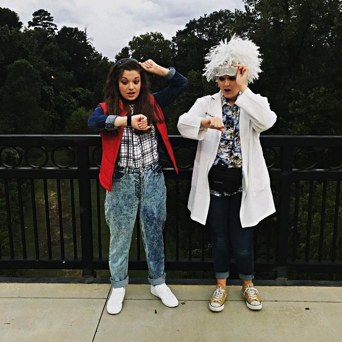 idée déguisement année 80 pour amis, déguisement marty mcfly et le doc du film retour vers le futur