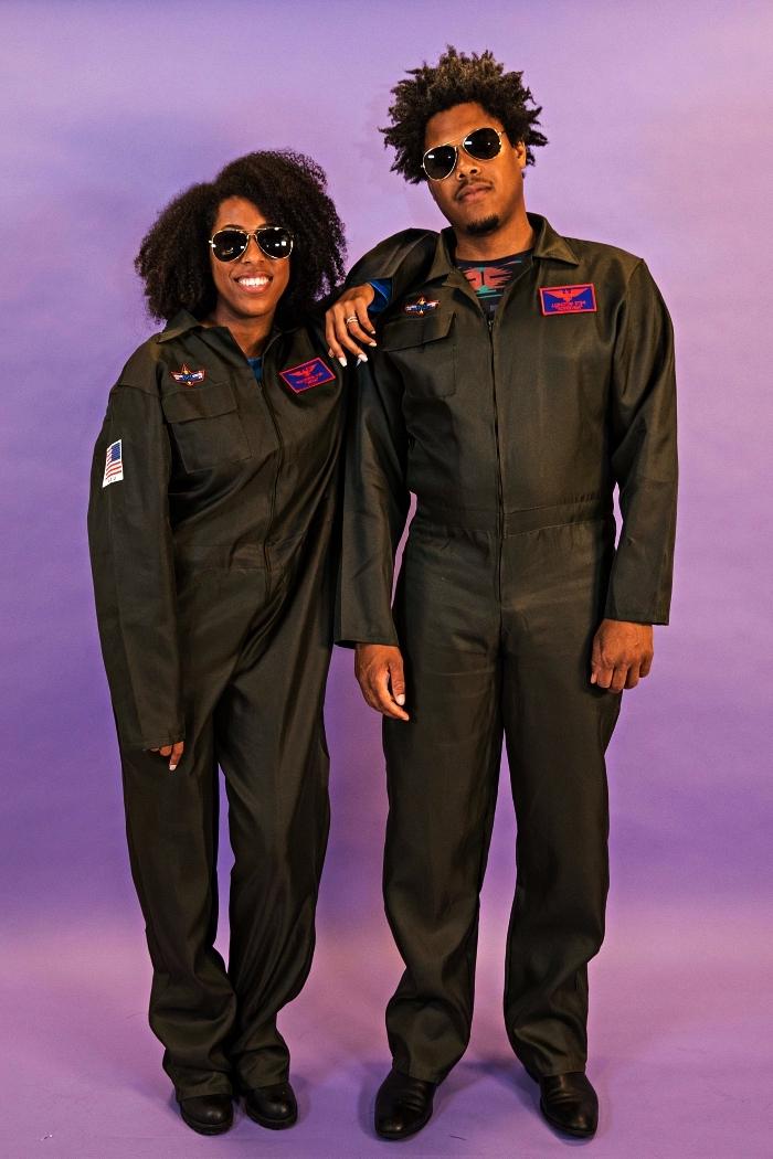 idée déguisement année 80, déguisement de pilote de top gun composé d'une combinaison aviateur