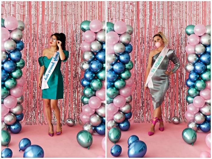déguisement disco femme avec robe rétro en couleur métallique, déguisement en reine du bal de promo