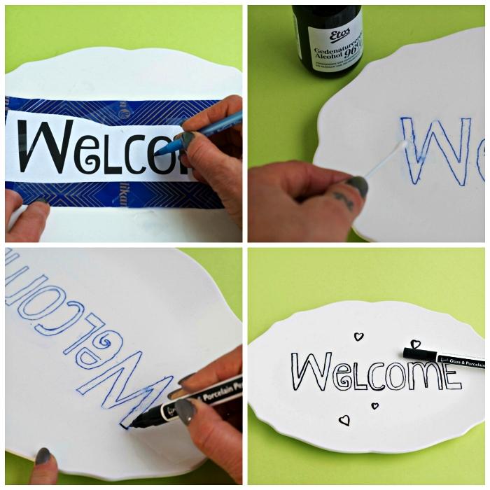 peinture au pochoir avec un feutre pour porcelaine sur une assiette ancienne, transformer une assiette en déco murale originale