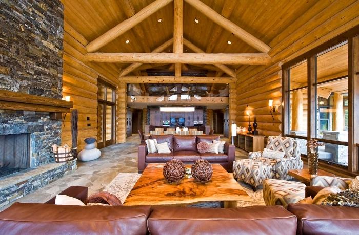 salon de style rustique aux murs et plafond en bois avec sol pierres, idée décoration intérieure dans un salon bois avec meubles cuir