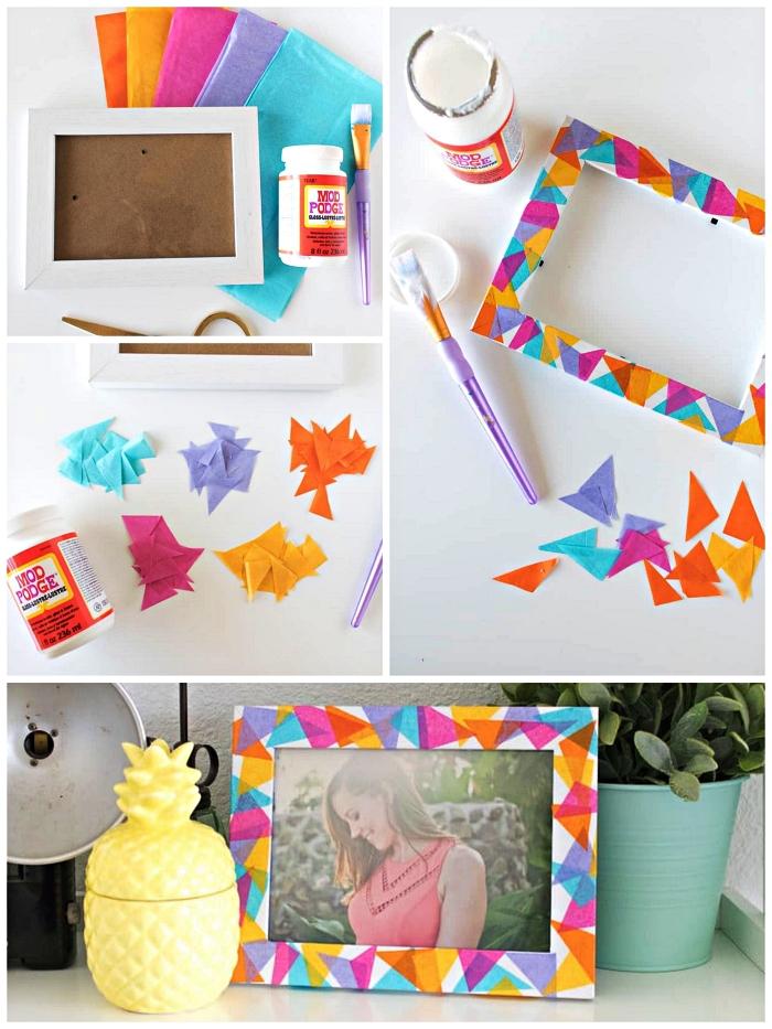 bricolage adultes facile, personnaliser un cadre photo avec du papier de soie, deco cadre photo graphique en papier de soie