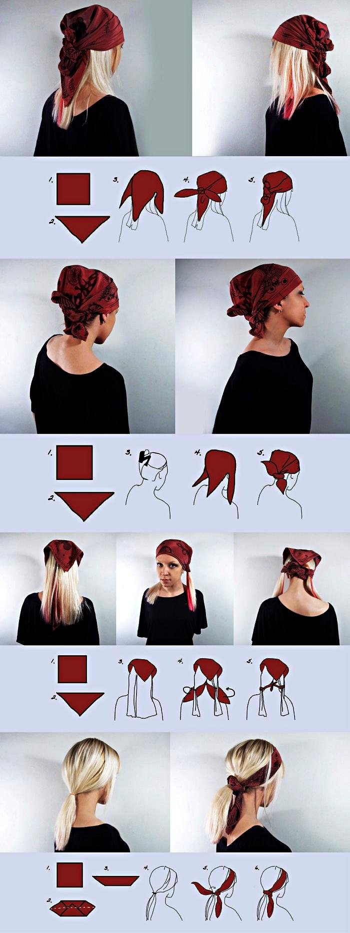idée de coiffure de pirate avec foulard, tuto pour nouer son foulard de pirate, déguisement pirate femme avec foulard rouge