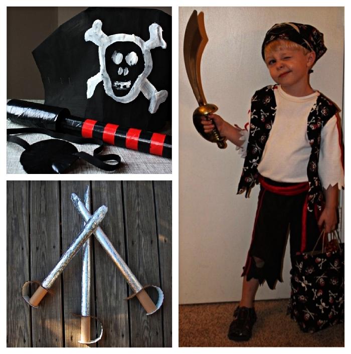 deguisement pirate enfant à composer soi-même avec des accessoires de pirates diy, une épée de pirate en carton à fabriquer soi-même
