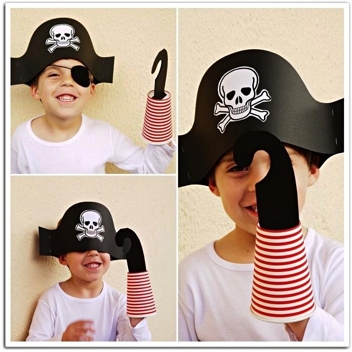 accessoires de pirate pour un costume garçon de dernière minute, chapeau de pirate et crochet réalisés en papier