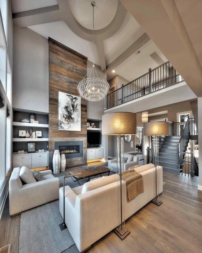 idée déco sejour cathédrale moderne, quelle couleur associer au gris dans la déco, modèle de salon gris et bois